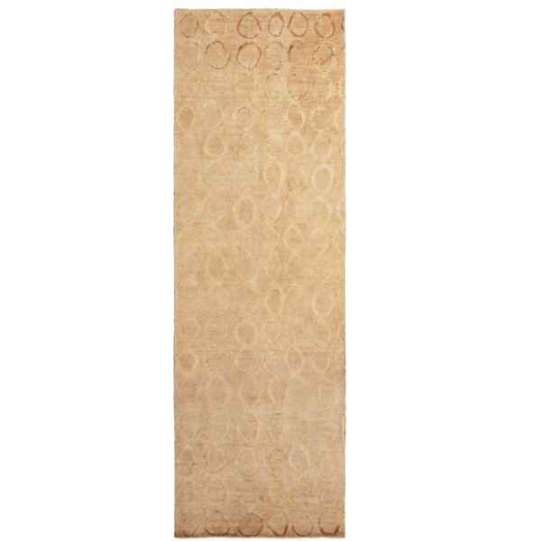 One-of-a-Kind Hand-Knotted Beige 4'2 x 16'11 Wool Area Rug