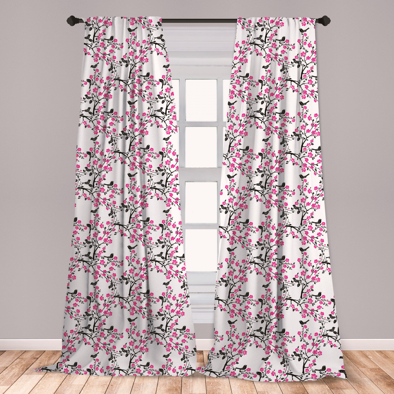 East Urban Home Ambesonne Cherry Blossom Window Curtains Sakura Tree With Flourishing Flowers And Birds Black Silhouettes Lightweight Decorative Panels Set Of 2 With Rod Pocket 56 X 63 Black Hot Pink White