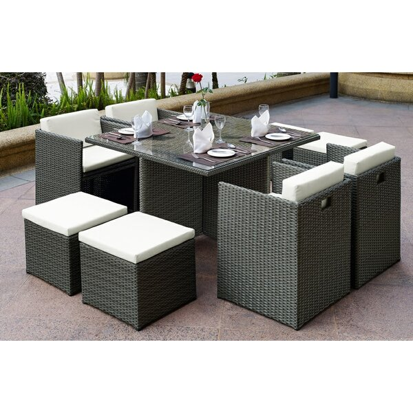 Aristotle 9 Piece Dining Set with Cushions by Brayden Studio