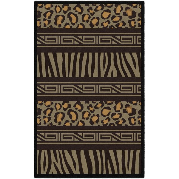 Lanier Animal Print Black/Brown Area Rug by World Menagerie