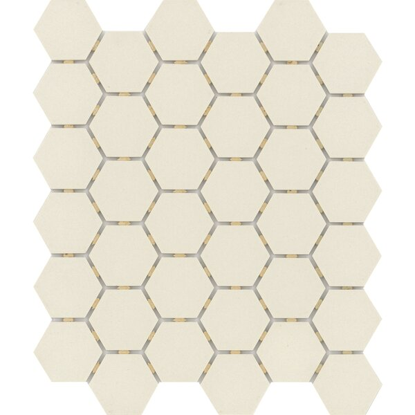 Zone Hex 2 x 2 Porcelain Mosaic Tile in Matte Bone by Emser Tile