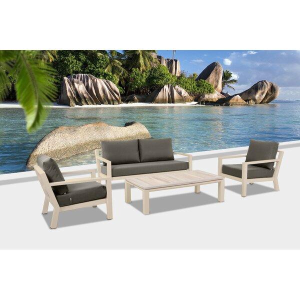 Darrius 4 Piece Teak Sofa Set with Cushions by Brayden Studio