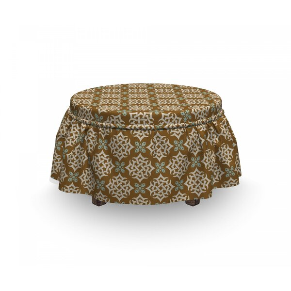 Deals Oriental Middle Eastern Motifs 2 Piece Box Cushion Ottoman Slipcover Set