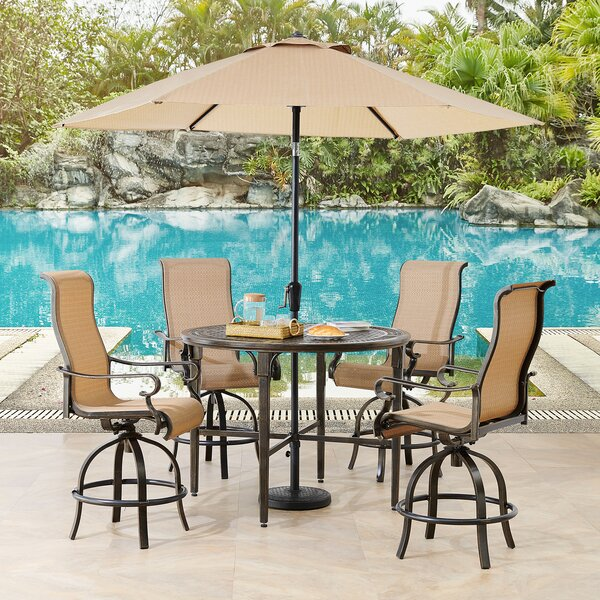 Sweeten 5 Piece Dining Set with Umbrella by Brayden Studio
