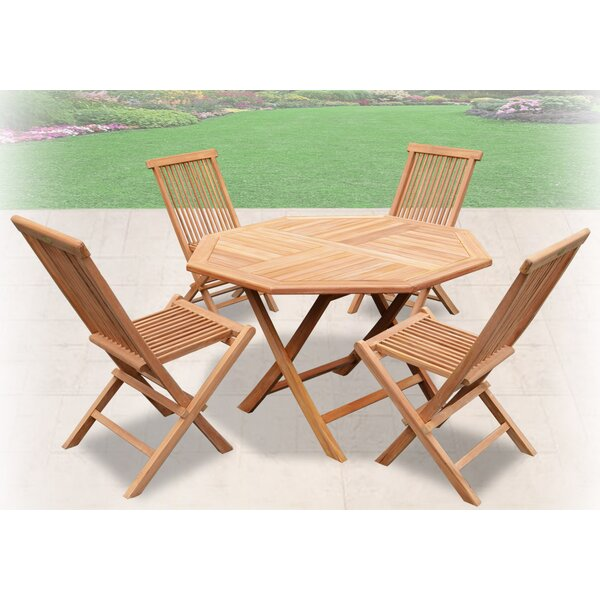Richborough Golden Wood Folding Teak Patio Dining Chair Set by Winston Porter