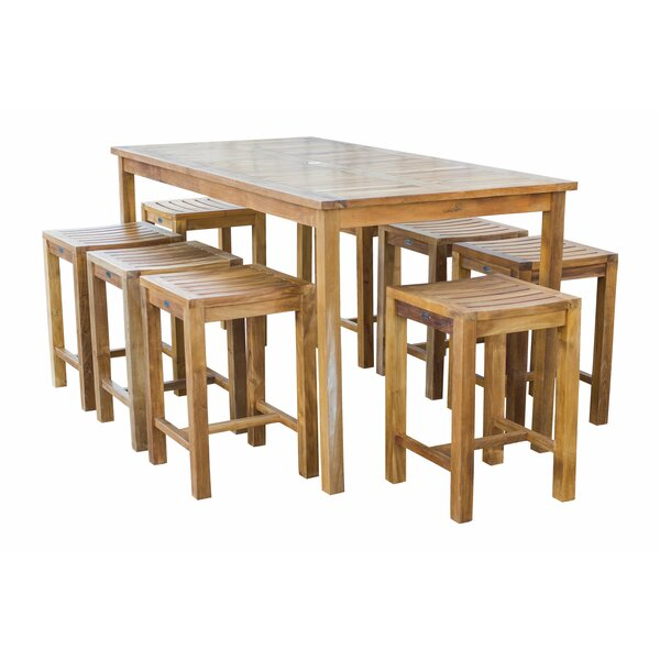 Vasquez Counter Height 9 Piece Teak Dining Set
