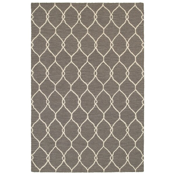 Carstens Hand-Hooked Gray/Ivory Area Rug by Latitude Run