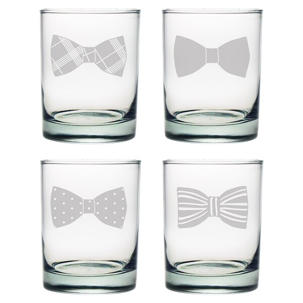 Bowtie Rocks Glass (Set of 4) by Susquehanna Glass