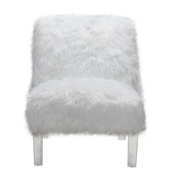 Park Accent Sleek Stylish Faux Fur Upholstered Armless 23.5