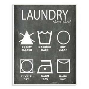 'Laundry Cheat Sheet Icons Chalk Look' Textual on Canvas by Stupell Industries