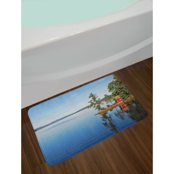 Landscape Lakeside Photo with Calm Still Water and Small Country House between Trees Peace Non-Slip Plush Bath Rug by East Urban Home