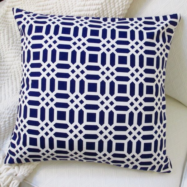 Vivid Lattice Cotton Throw Pillow by Artisan Pillows