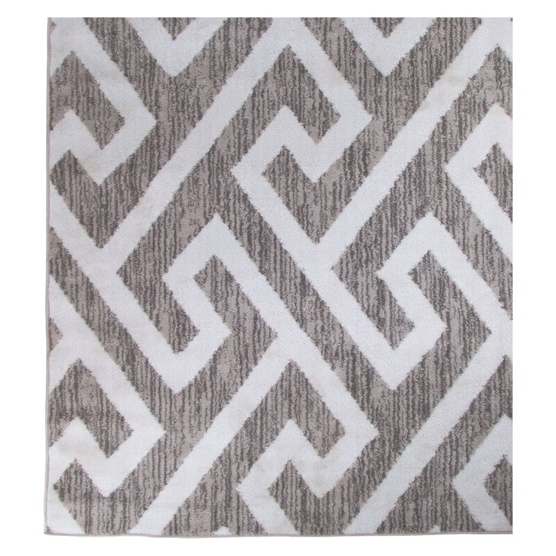 Charmant Hector Gray/White Area Rug