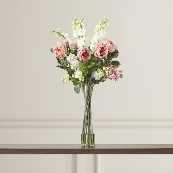 Rose, Delphinium and Lilac Silk Floral Arrangements in Pink by Rosdorf Park