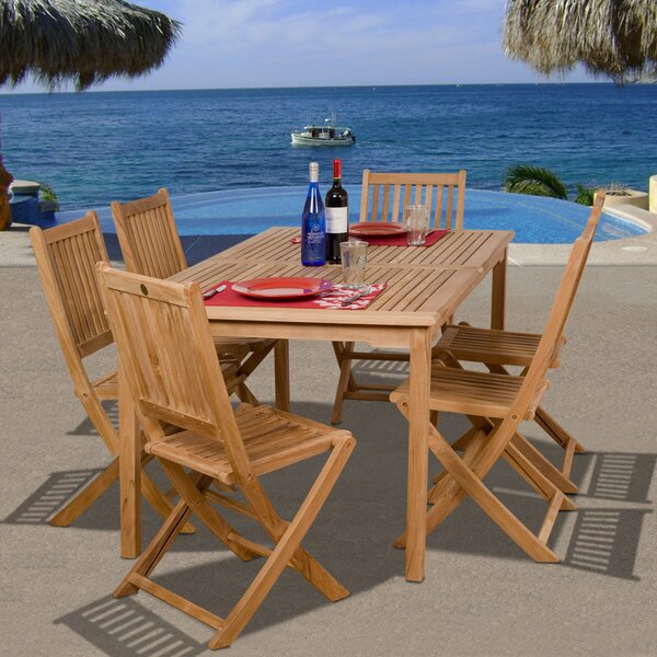 Ervine International Home Outdoor 7 Piece Teak Dining Set Bayou Breeze W002482777