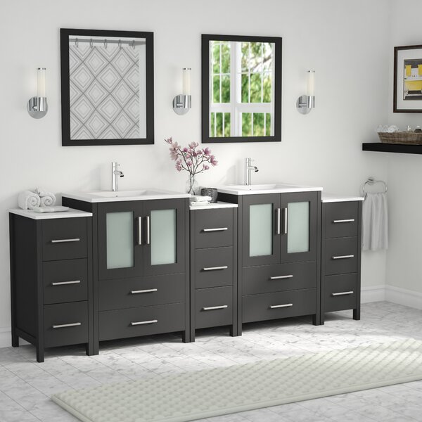 Karson Framed 84 Double Bathroom Vanity Set with Mirror by Wade Logan