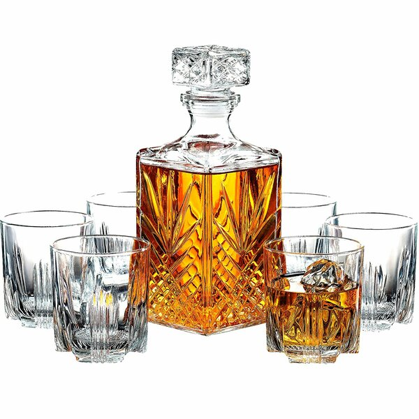 Elisabetta Crafted Glass Decanter and Whisky Glasses 7 Piece Beverage Serving Set by Astoria Grand