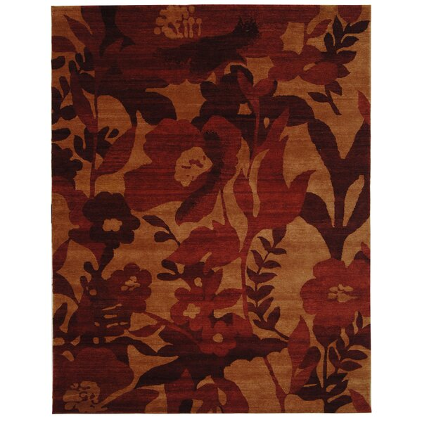 Bernick Tibetan Hand Knotted Wool Red Area Rug by Red Barrel Studio