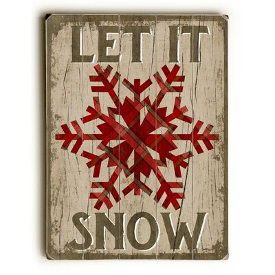 Let It Snowflake on Rectangle Brown Wooden Wall Décor