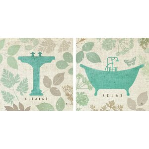 'Forest Bath' 2 Piece Graphic Art Print Set by Star Creations