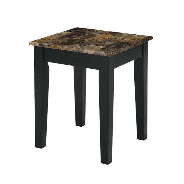 Montezuma Marble Top Wooden Base End Table by Fleur De Lis Living