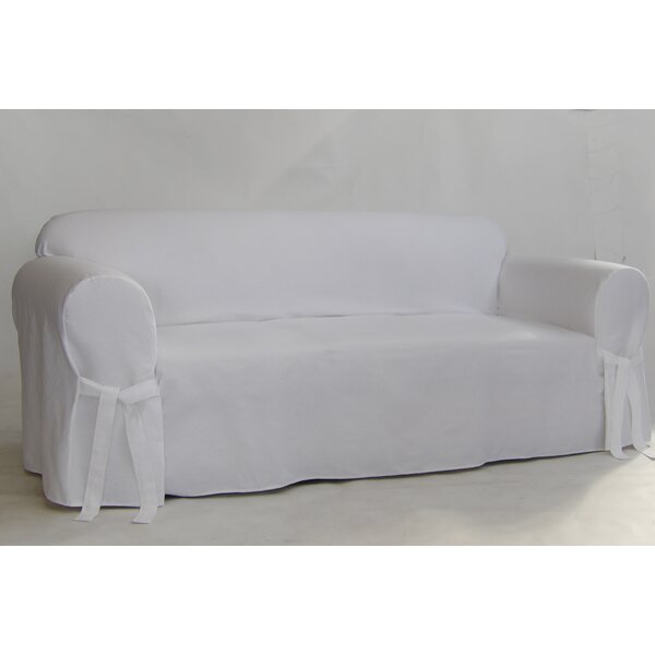 Twill One Piece Box Cushion Sofa Slipcover by Alcott Hill