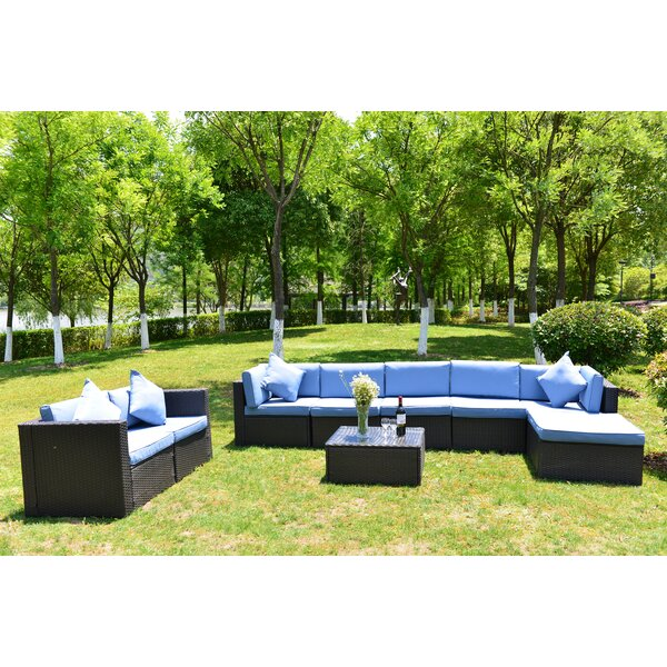 9 Piece Rattan Sectional Seating Group with Cushions by Ebern Designs
