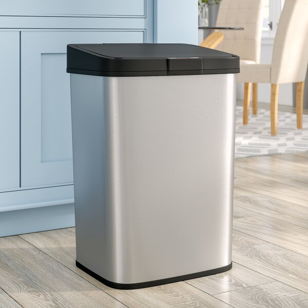 Steel 15.9 Gallon Motion Sensor Trash Can by Rebrilliant