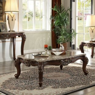 Arvilla Traditional Rectangular Wood and Marble Coffee Table