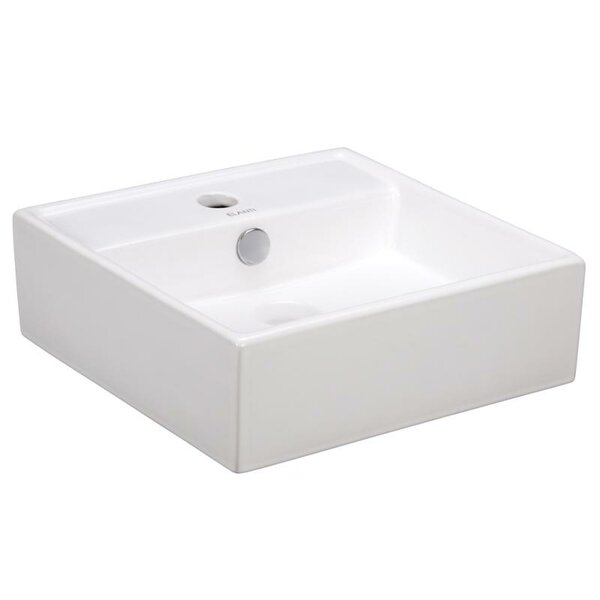 Porcelain Ceramic 15 Wall Mount Bathroom Sink with Overflow by Elanti