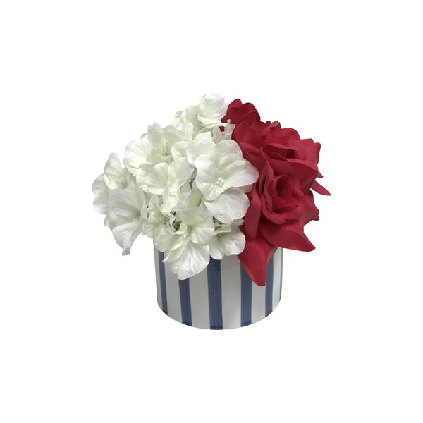 Preppy Hydrangea and Rose Centerpiece by Darby Home Co