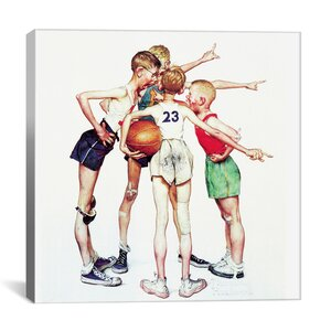 'Oh Yeah (Four Sporting Boys: Basketball)' by Norman Rockwell Painting Print on Canvas by iCanvas