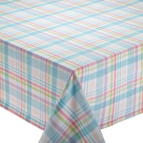 Bunnies in Bloom Easter Basket Plaid Tablecloth by Design Imports