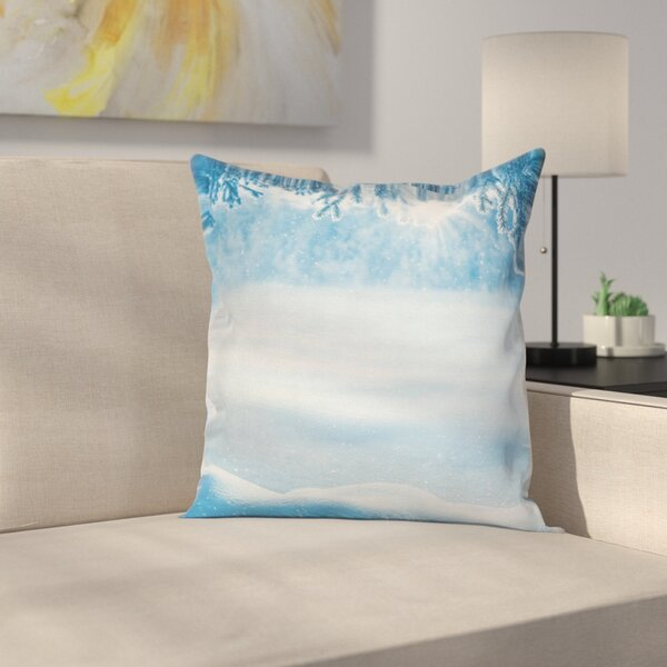 Snow Shiny Cold Winter Square Pillow Cover by East Urban Home