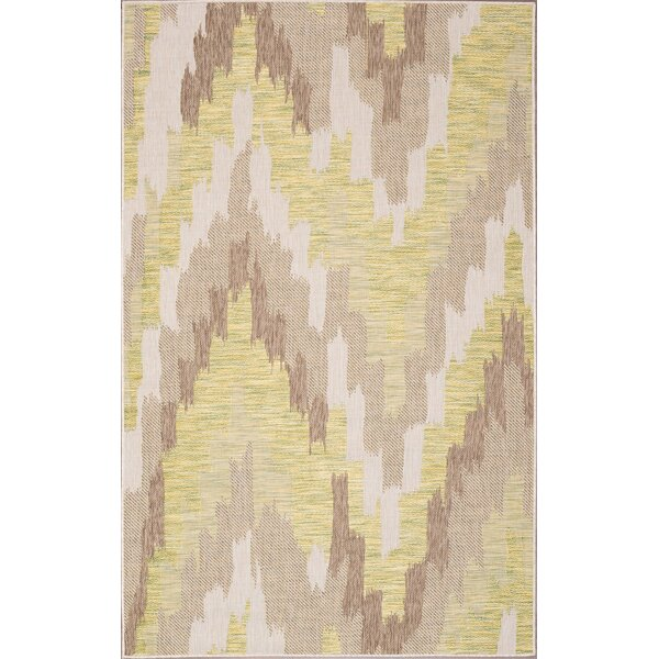 Annie Ivory/Green Indoor/Outdoor Area Rug by Union Rustic