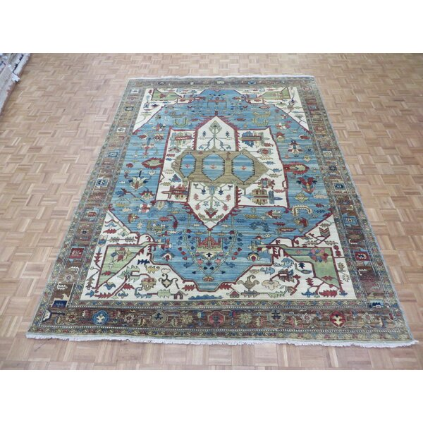 One-of-a-Kind Padro Heriz Hand-Knotted Wool Sky Blue Area Rug by Bloomsbury Market