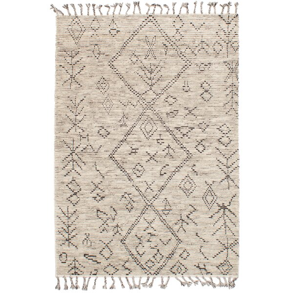 Canales Hand-Knotted Wool Cream Area Rug by Foundry Select