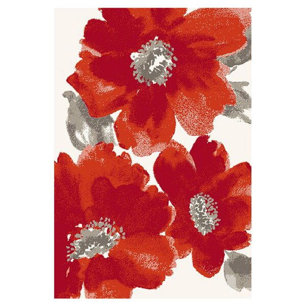 Martin Red/Ivory Floral Area Rug by Ebern Designs