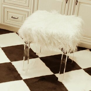 Fabulous Cherie Lamb Faux Fur Acrylic Square Leg Stool Machost Co Dining Chair Design Ideas Machostcouk