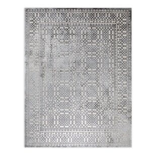 Best Reviews Nyla Silver/Black Area Rug By Ophelia & Co.