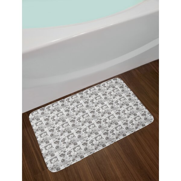 Hand Grey and White Bath Rug by East Urban Home
