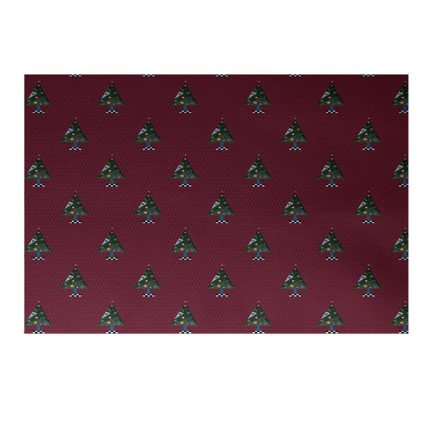 Crazy Christmas Decorative Holiday Print Cranberry Burgundy Indoor/Outdoor Area Rug by The Holiday Aisle
