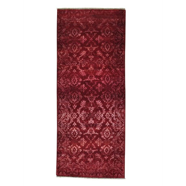 Damask Tone on Tone Hand-Knotted Red Area Rug by Bloomsbury Market