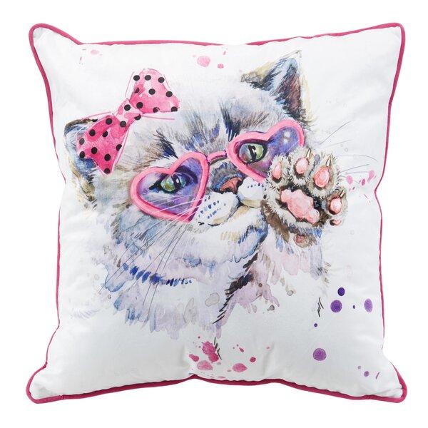 Kitten in Glasses Metallic Throw Pillow by Nicole Miller