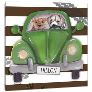 Dogs Road Trip on Stripes Canvas Art by Doodlefish
