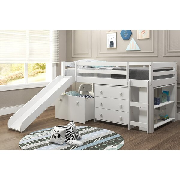 Renley Complete Twin Low Loft Bed with Drawer and Bookcase by Harriet Bee Harriet Bee