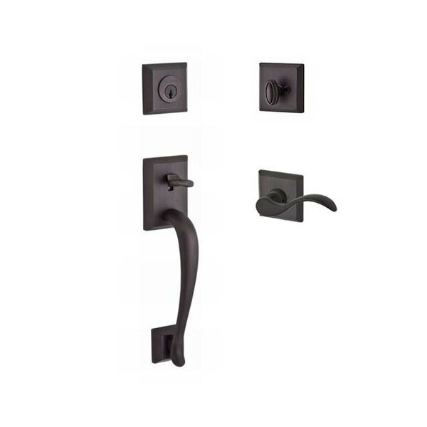 Napa Single Cylinder Handleset with Curve Door Lever and Traditional Square Rose by Baldwin