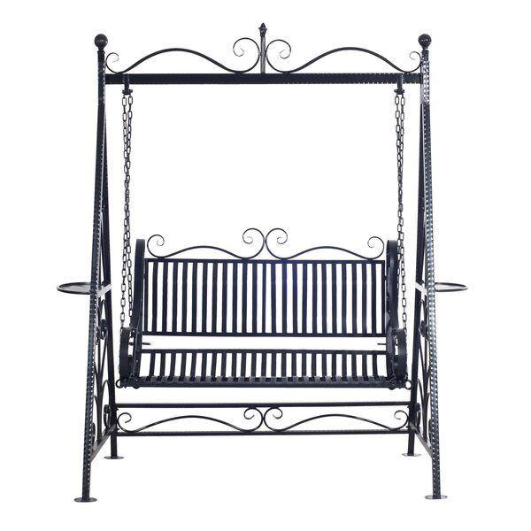 Kerry 2 Person Outdoor Metal Porch Swing with Stand by Charlton Home
