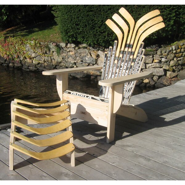 Hockey Stick Solid Wood Adirondack Chair with Ottoman by Ski Chair