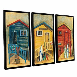 'Summer Cabanas' 3 Piece Framed Painting Print on Canvas Set by Highland Dunes